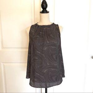 Ann Taylor Black & White Patterned Sleeveless Top